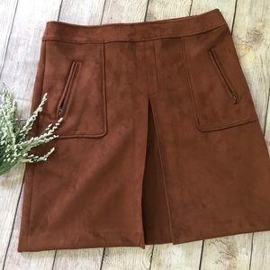 NWT LOFT Faux Suede Brown High Waist Shift Skirt